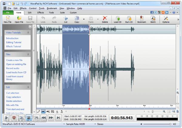 Phần mềm chỉnh sửa nhạc WavePad Sound Editor