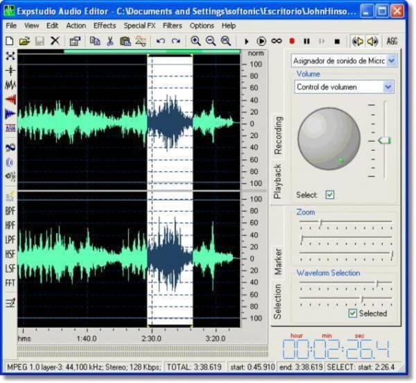 Phần mềm chỉnh nhạc chuyên nghiệp Expstudio Audio Editor Free